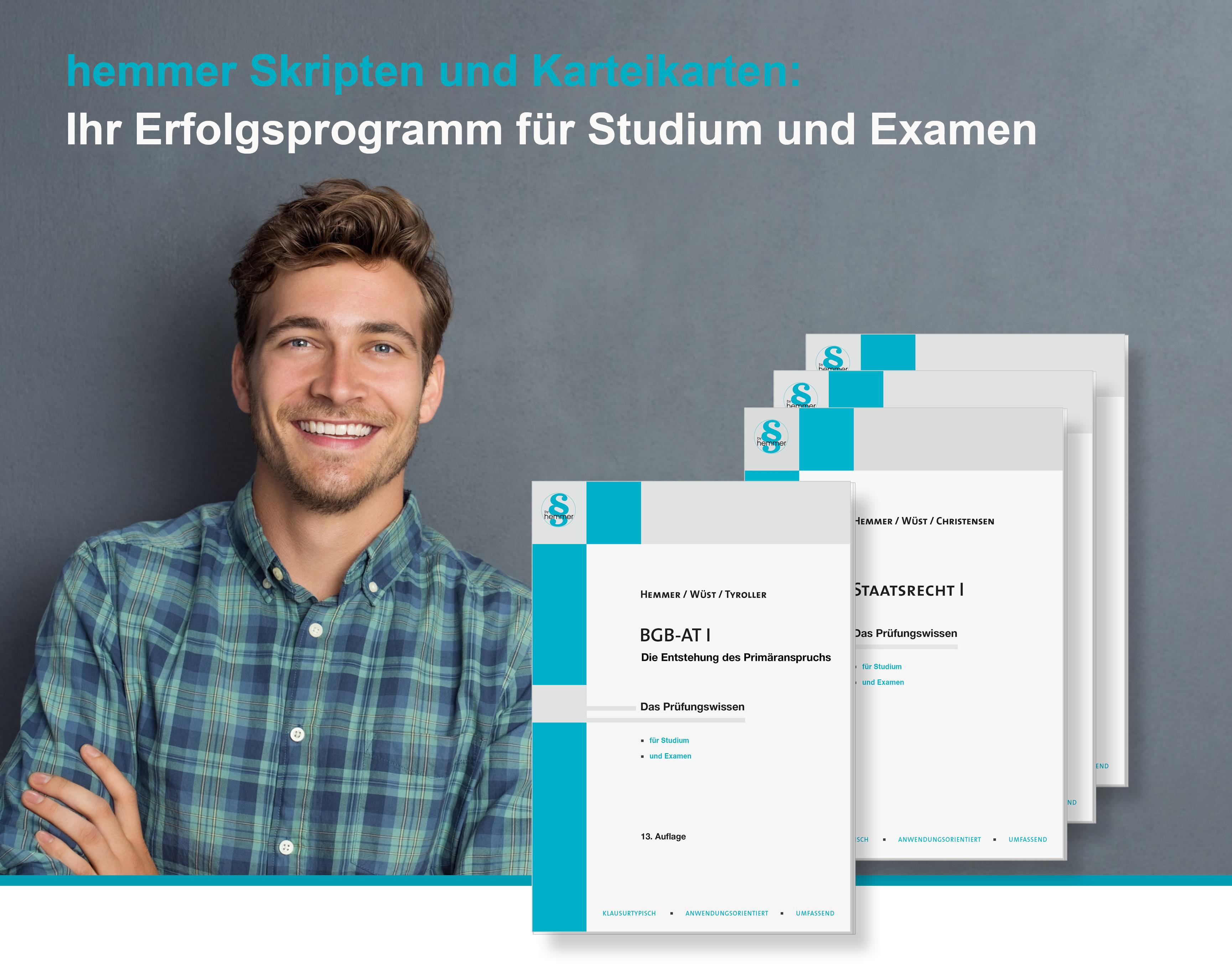 Herzlich willkommen im hemmer-shop. Juristischer Fachverlag hemmer/wüst.