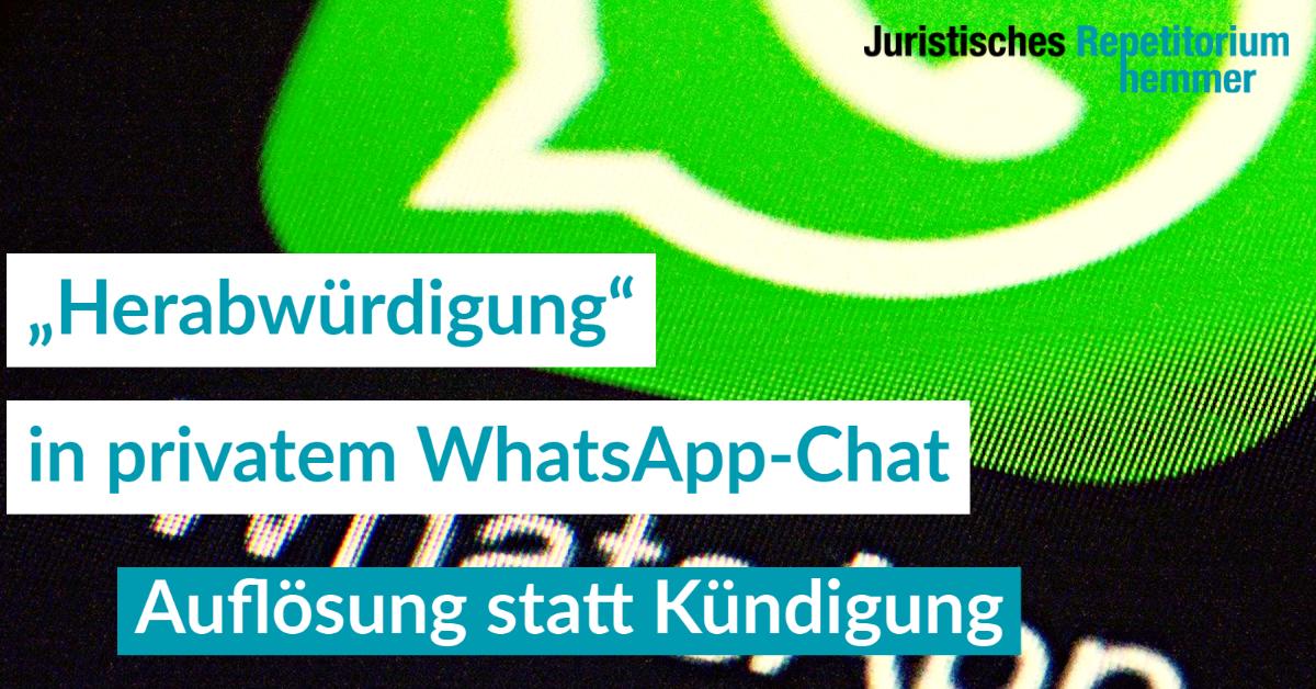 """""""Herabwürdigung"""" in privatem WhatsApp-Chat"""
