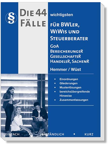 Die 44 wichtigsten Fälle - GoA Bereicherungsrecht, Gesellschaftsrecht, Handelsrecht für BWL'er