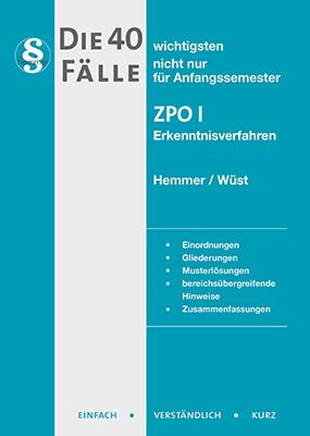 eBook - Die 40 wichtigsten Fälle - ZPO I - Erkenntnisverfahren