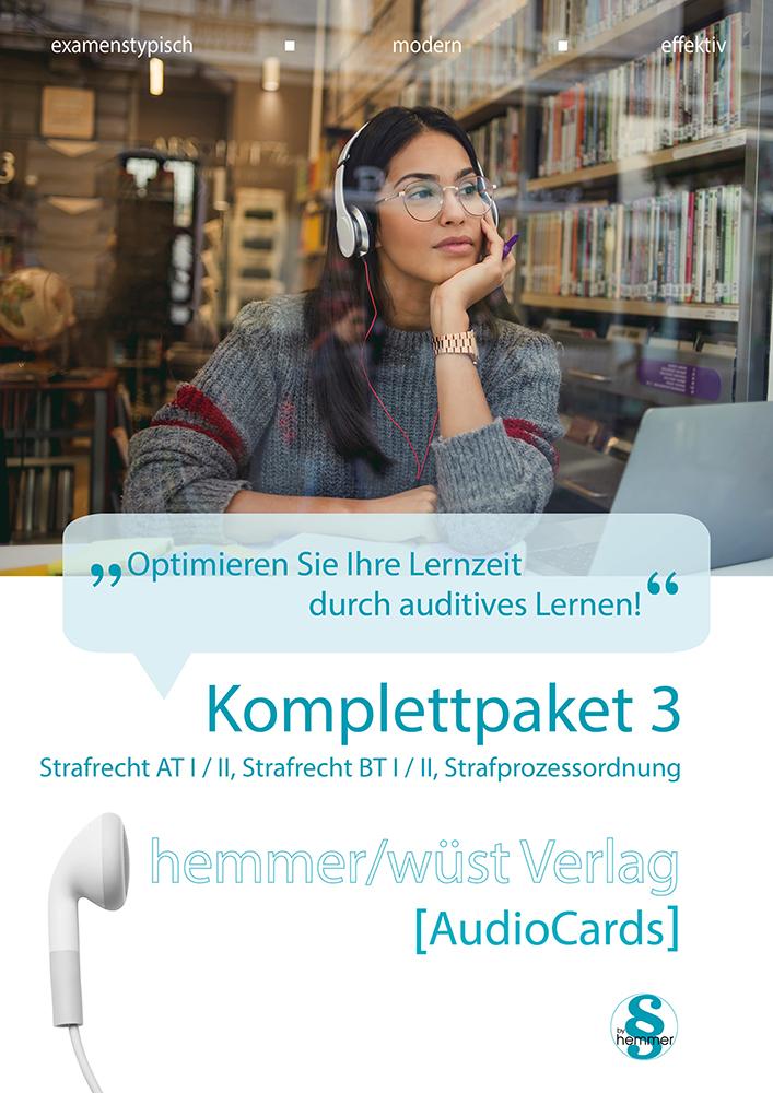Audiocards - Komplettpaket 3 - Strafrecht AT I II BT I II und Strafprozessordnung - Download