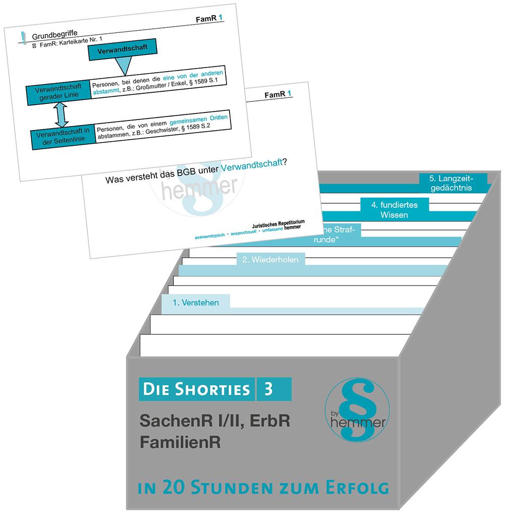 Shorties Box 3: Sachenrecht I/II, Erbrecht, Familienrecht