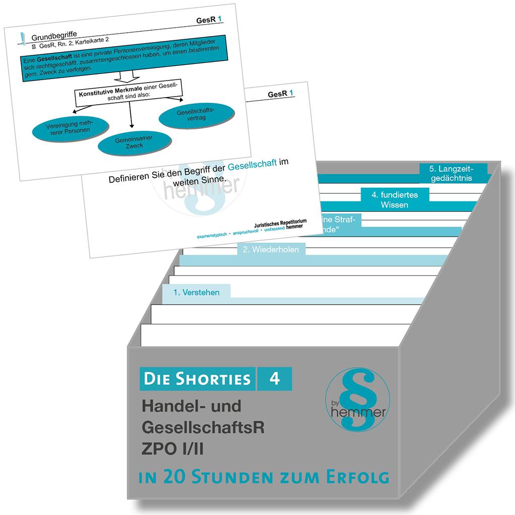 Shorties Box 4: Zivilprozessordnung (ZPO) I/II, Gesellschaftsrecht, Handelsrecht
